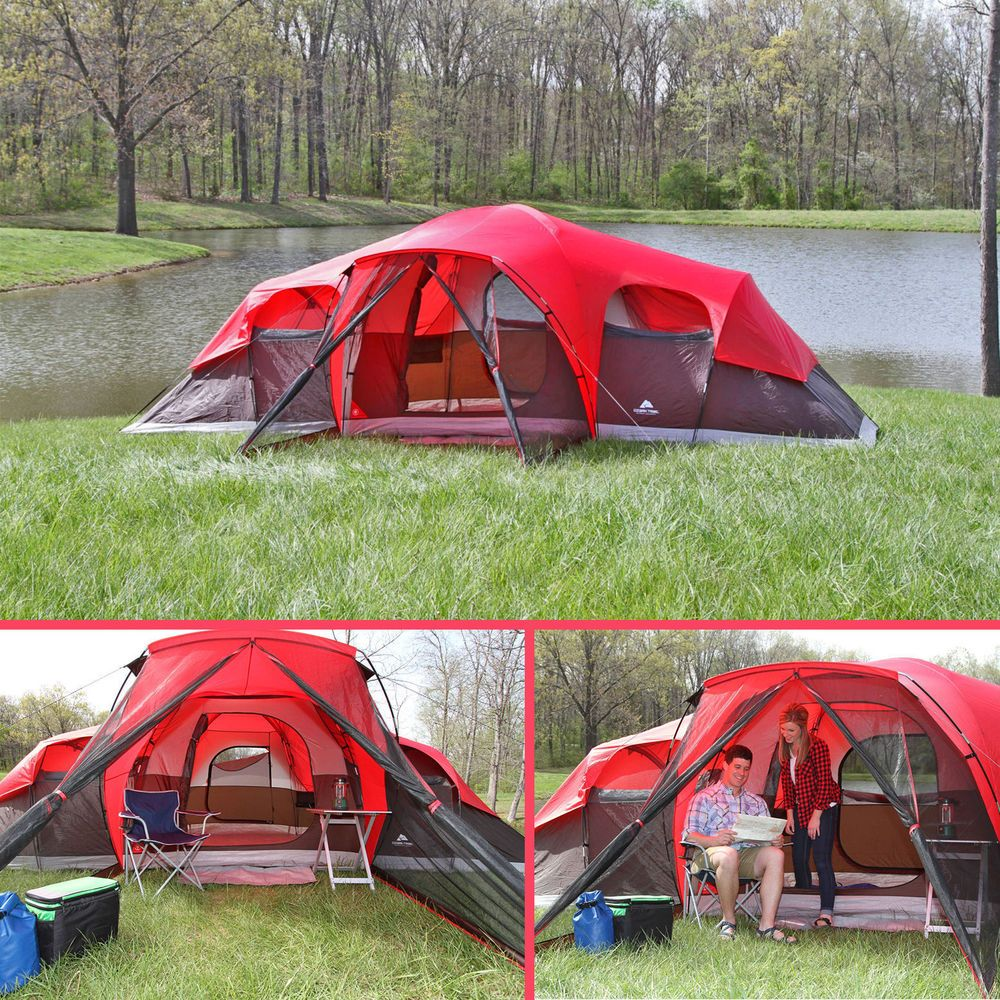 Prepare for the next c&ing adventure with this Family Tent. You can fit 10 people inside this family c&ing tent and its roll-back fly makes it easy to ... & Camping Tent 10 Person Large Cabin Easy Setup Family Shelter Hiking ...