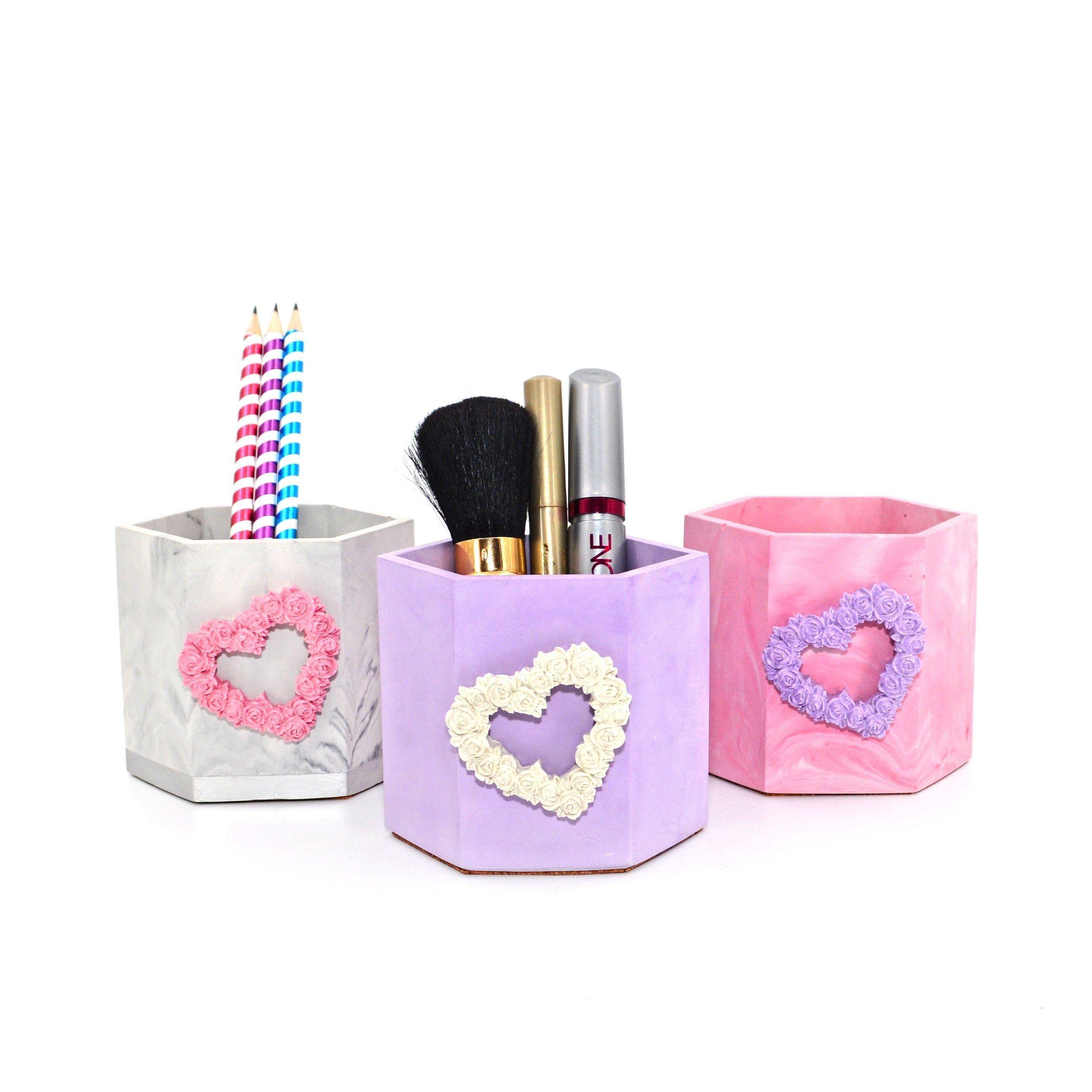 Makeup brush holder marble, Pen holder for desk, Marble