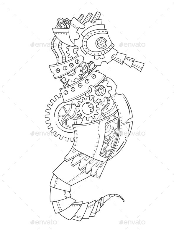 Steampunk style sea horse. Mechanical animal. Coloring