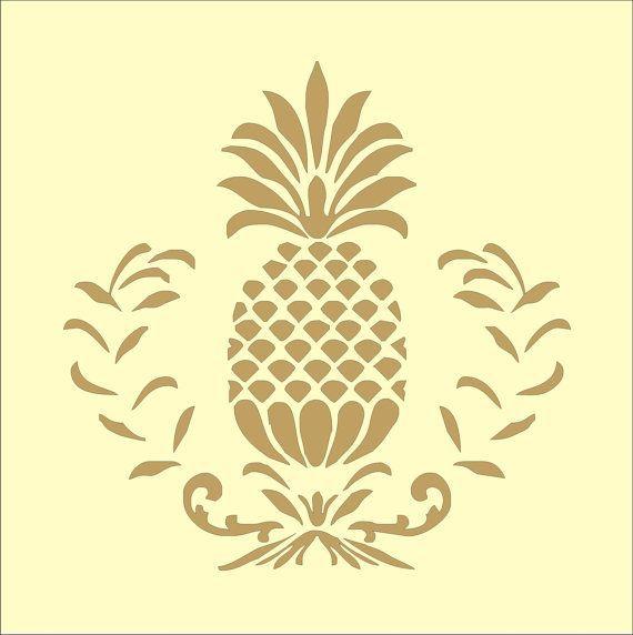 Pineapple Flourish Stencil   Pineapple art, Stencil fabric ...  Cute Pineapple Stencil