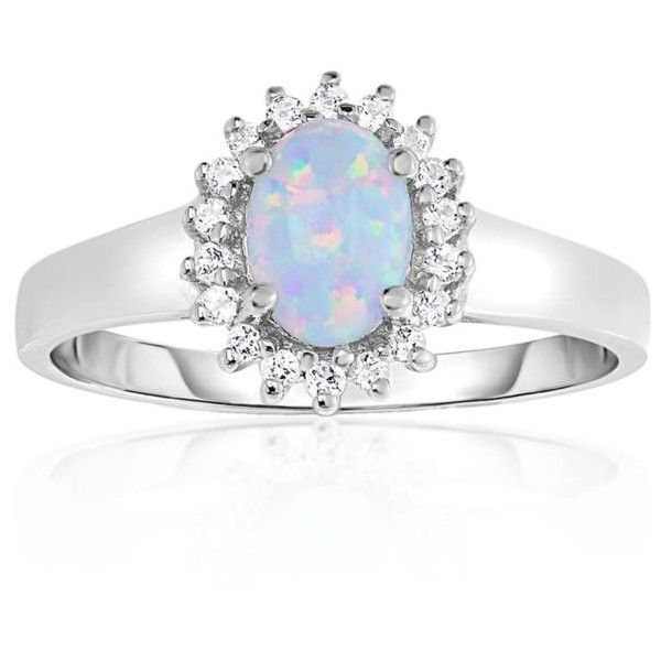 Belk Co White Created Opal And White Topaz Ring In 10k White Gold 270 Liked On Polyvore Featuri White Gold Opal Ring White Topaz Jewelry Gold Topaz Ring