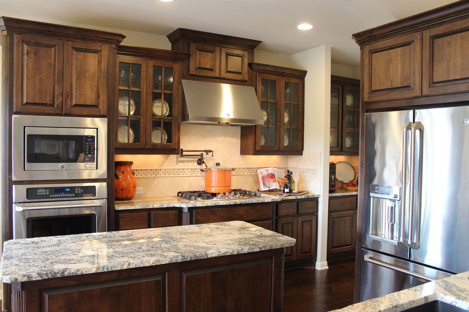 burrows cabinets kitchen in stained knotty alder and mullion doors with glass buy interior on kitchen interior cabinets id=28064