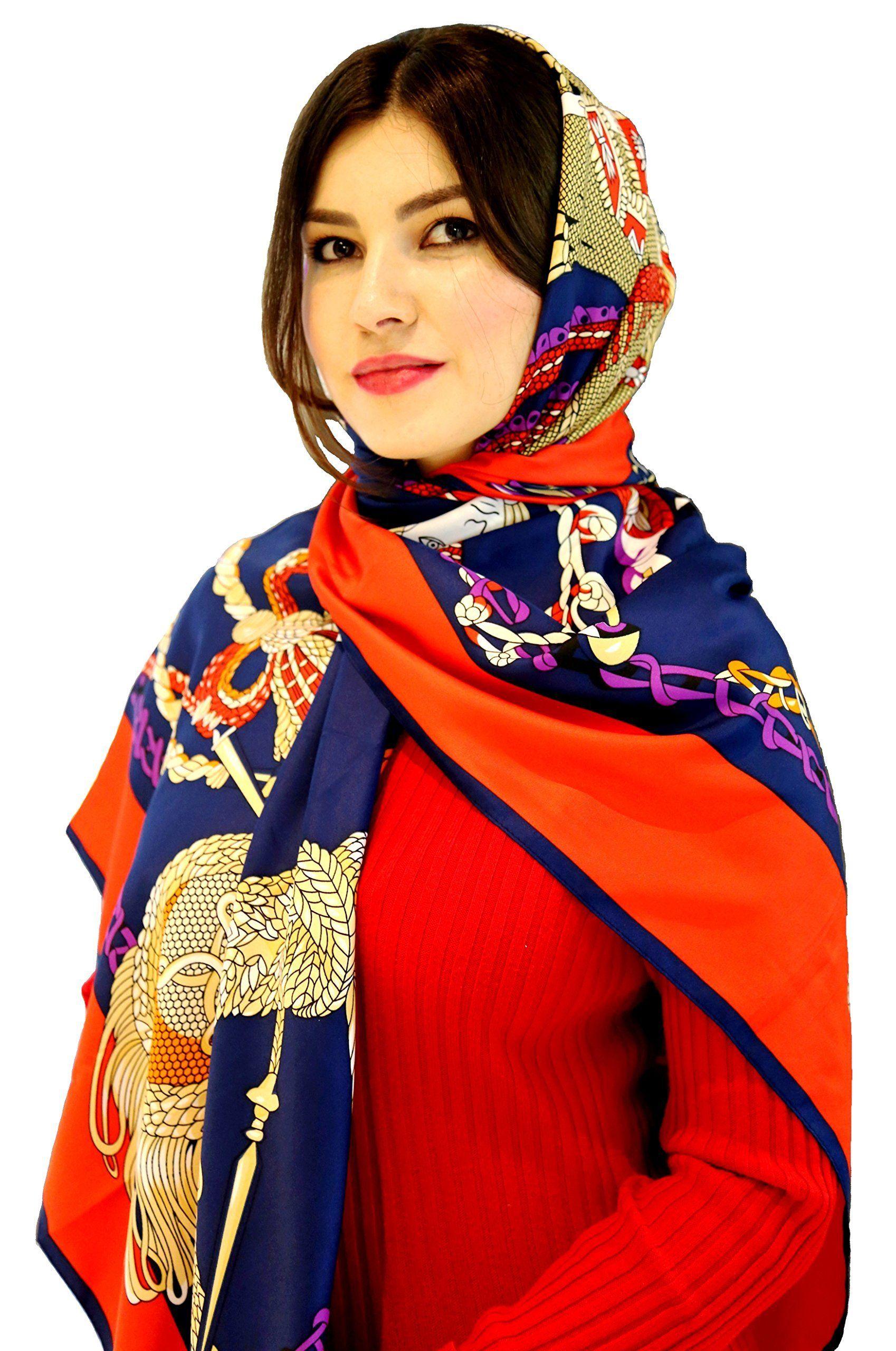 Women's Designer Silk Scarf (Long) Luxury Shawl, Head Wrap, or Fashion Accessory