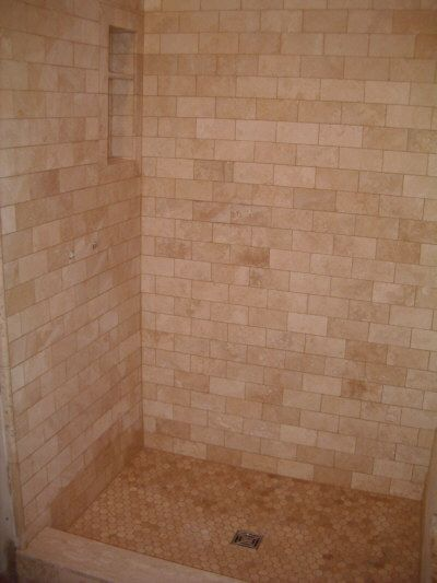 Warm Toned Brick Style Shower Wall Tile And Honeycomb