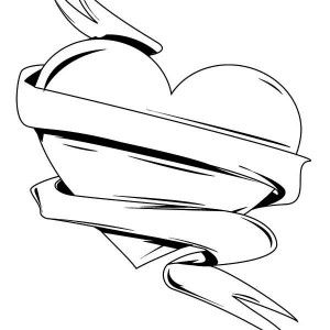 Hearts With Ribbons Coloring Pages End Of Year Pinterest Heart