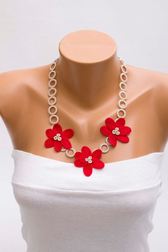 Crochet Oya Necklace Crochet Necklace Crochet Flower Necklace