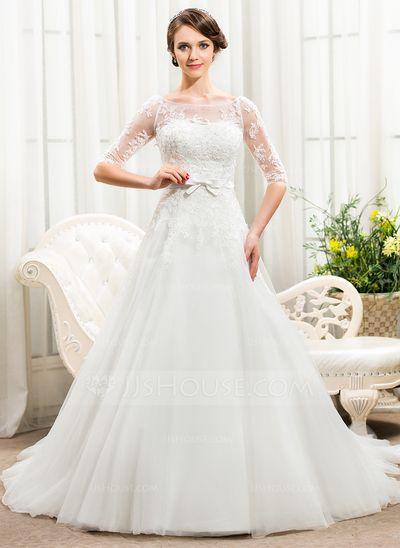 Corte A/Princesa Hombros caídos Cola capilla Satén Tul Encaje Vestido de novia con Bordado Lentejuelas Lazo(s) (002056466)