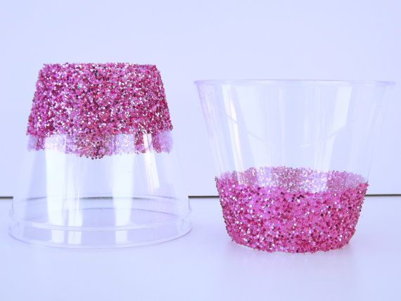 pink sealed glittered plastic cups pink party decorpink glitter cupswedding