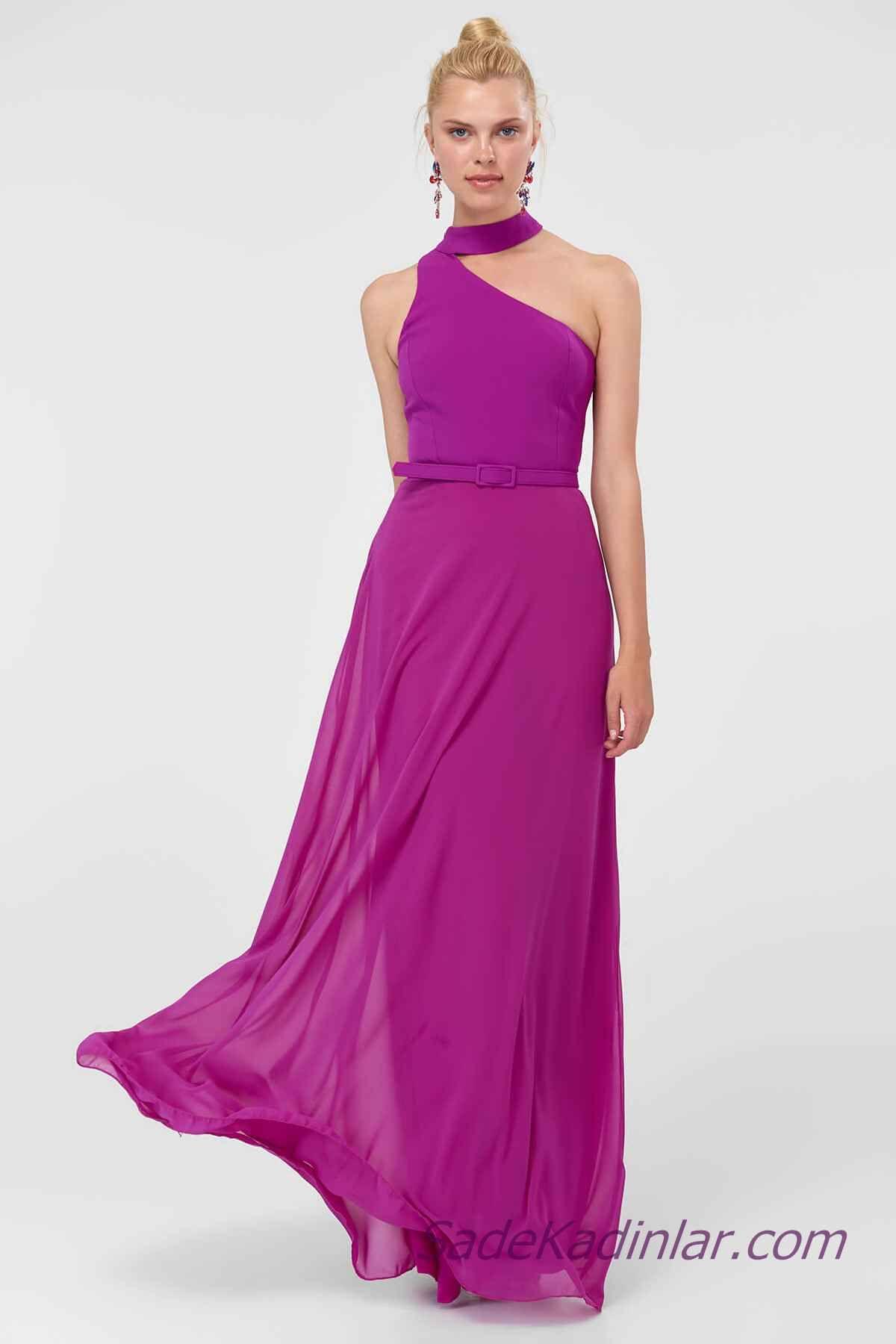 2021 Abiye Elbise Modelleri Mor Uzun Yakali Omzu Acik Kemer Detayli Elbise Modelleri Elbise Moda Stilleri