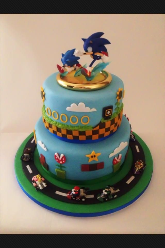 This One Is My Next Favorite I Could Do The Car On Top Of It Too Sonic Birthday Cake Sonic The Hedgehog Cake Sonic Birthday