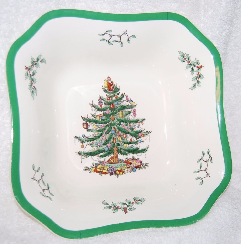 spode christmas tree square serving bowl