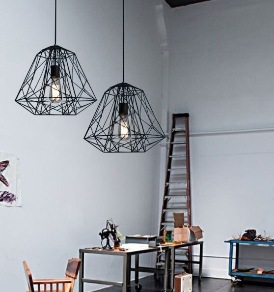 Ceiling NEW Industrial Geometric Cage Pendant Lamp