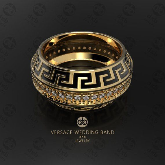 fb29fa6a21a1a3 Versace Wedding Band, Mens Ring, Greek Key Ring, Gold Wedding Rings,  Fashion Rings, unique Wedding Bands, Diamond Band Ring, Custom Rings