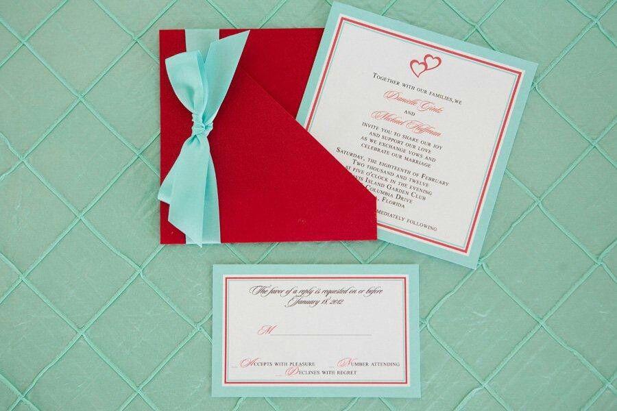 Tiffany Blue Red Invites