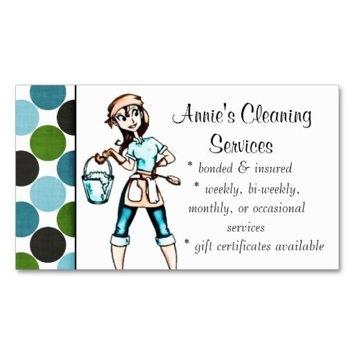 Cleaner business cards selowithjo cleaning services lady business card blue green housekeeping wajeb Gallery