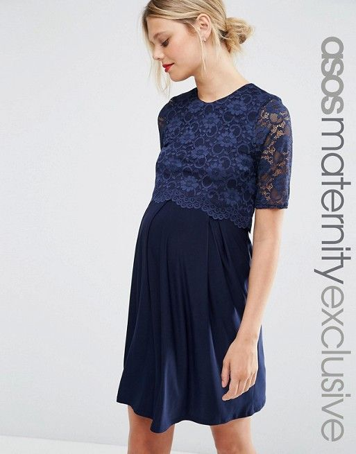 135ffca376cab ASOS Maternity | ASOS Maternity NURSING Lace Double Layer Skater Dress