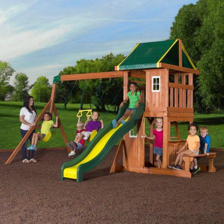 Buy Backyard Discovery Oakmont Cedar Wooden Swing Set At Walmart