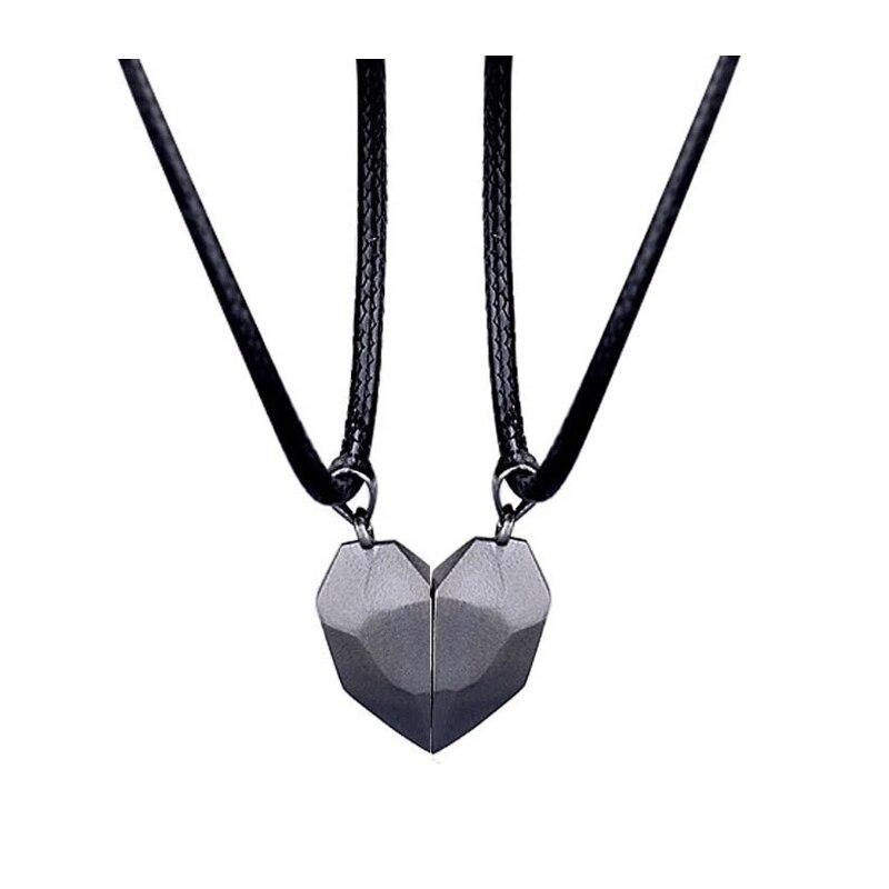Brand Name: rinhooMetals Type: Zinc AlloyGender: lovers'Necklace Type: Pendant NecklacesOrigin: CN(Origin)Style: TRENDYChain Type: Link ChainItem Type: NecklacesMaterial: MetalShape\pattern: HeartCompatibility: All CompatibleOccasion: AnniversaryPendant Size: As picture shownFine or Fashion: FashionModel Number: NC21Y0036Chain length: 62+5cmColor: White, BlackGender: Lover, CoupleType: Heart Magnetic Pendant NecklacePackage: OPP BagOccasion: Anniversary, Engagement, Valentine's DayDropshipping: