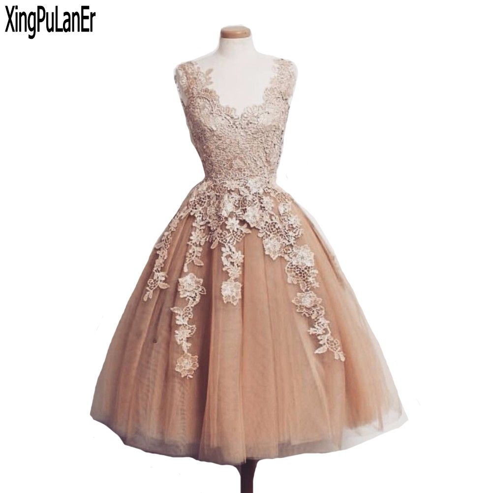 Click to buy ucuc a line v neck lace appliques short above knee length