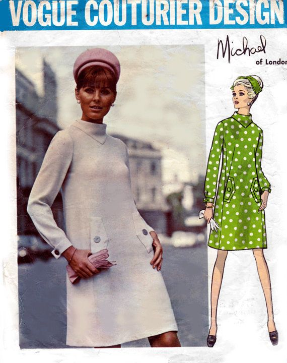 1960s Cowl Neck Dress by Michael of London Vogue Couturier Design ...