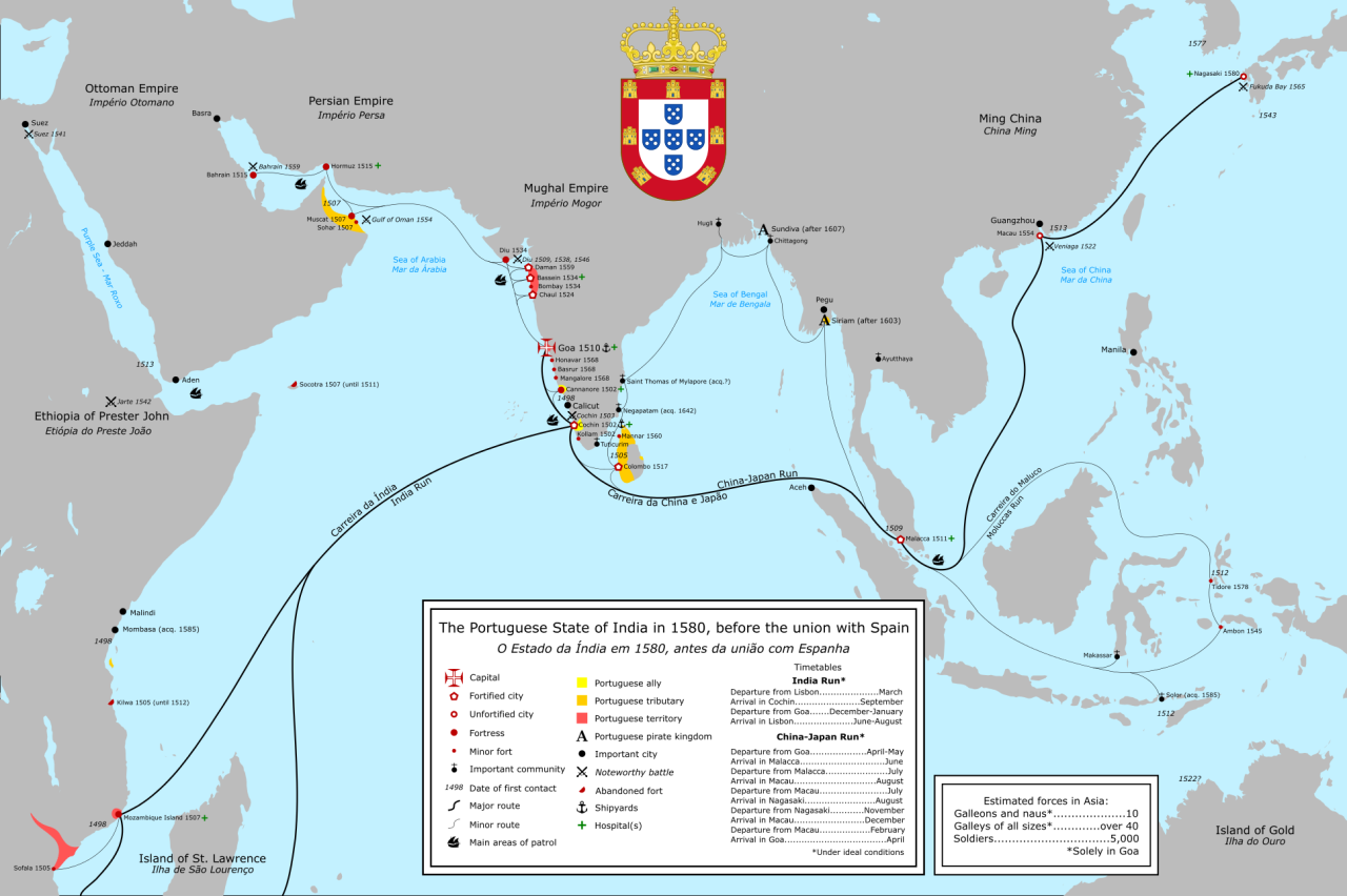 Complete Map Of Asia.A Complete Map Of The Portuguese Maritime Empire In Asia In The 16th