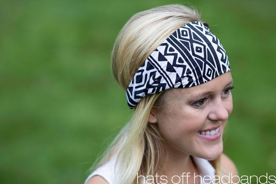 Black White Southwestern Aztec Lycra Wide by hatsoffheadbands