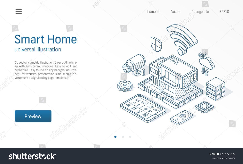 Smart Home isometric line illustration. Technology house