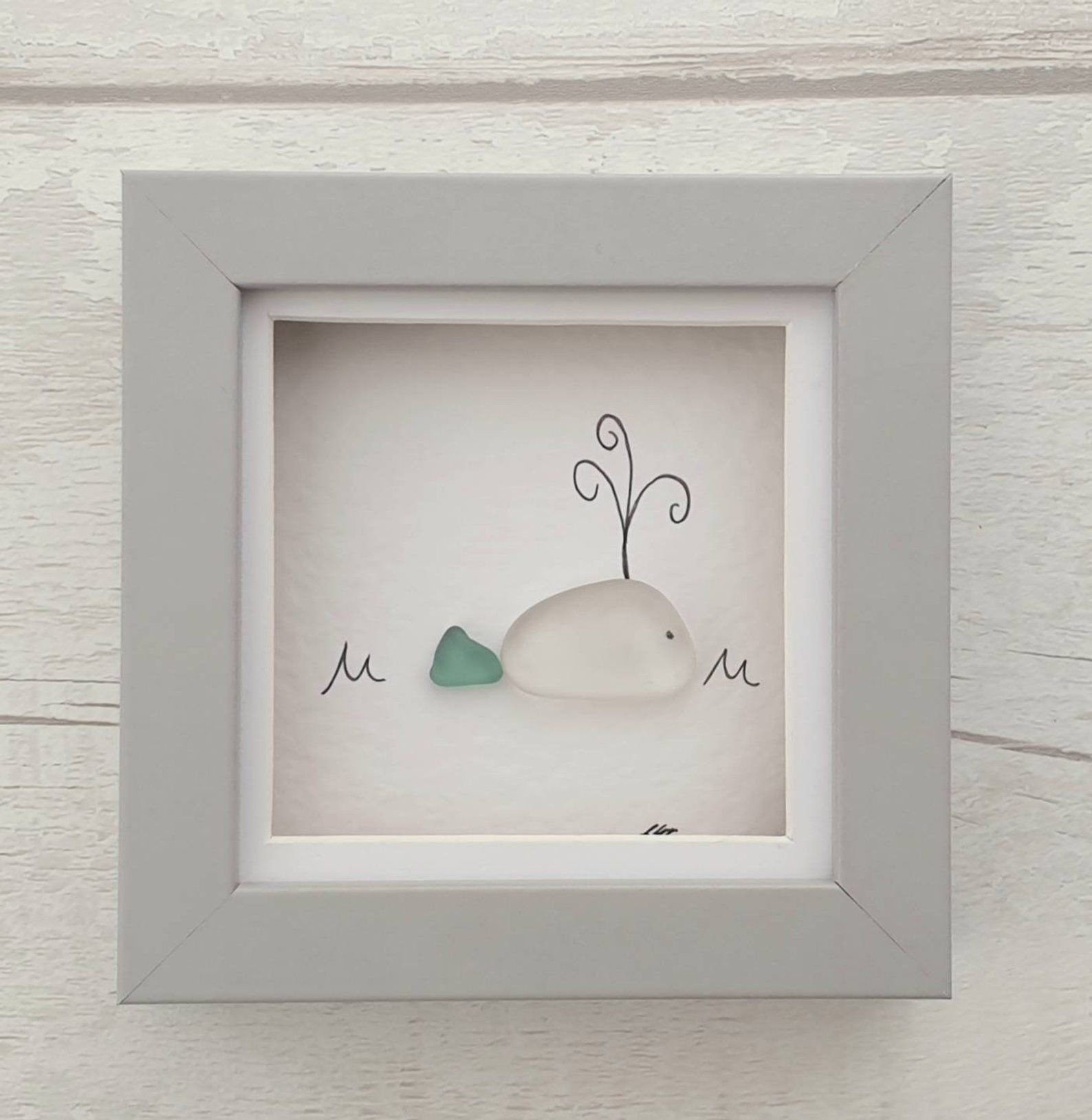 Sea glass art whale pebble art, unique nursery decor