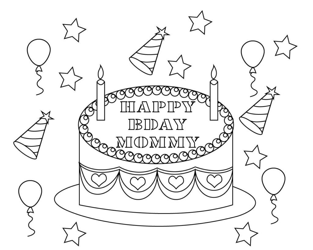 Happy Birthday Mummy Colouring Page Happy Birthday Coloring Pages Birthday Coloring Pages Mom Coloring Pages