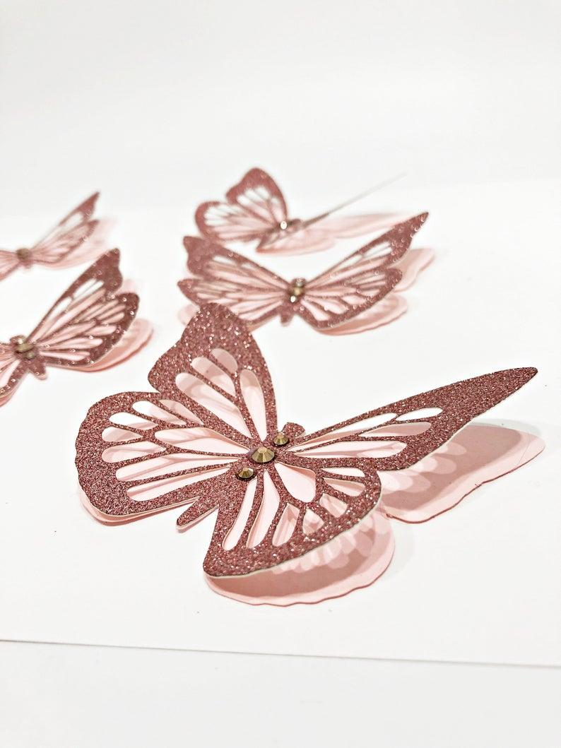 Rose Gold 3d Butterflies Rose Gold Decorations Paper Etsy In 2021 Rose Gold Decor Gold Butterfly Party Paper Butterflies