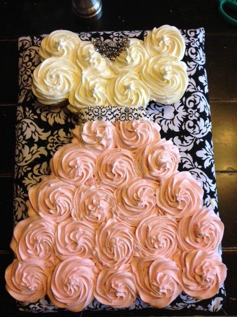 Cupscakes c/diseño de vestido beige/salmon