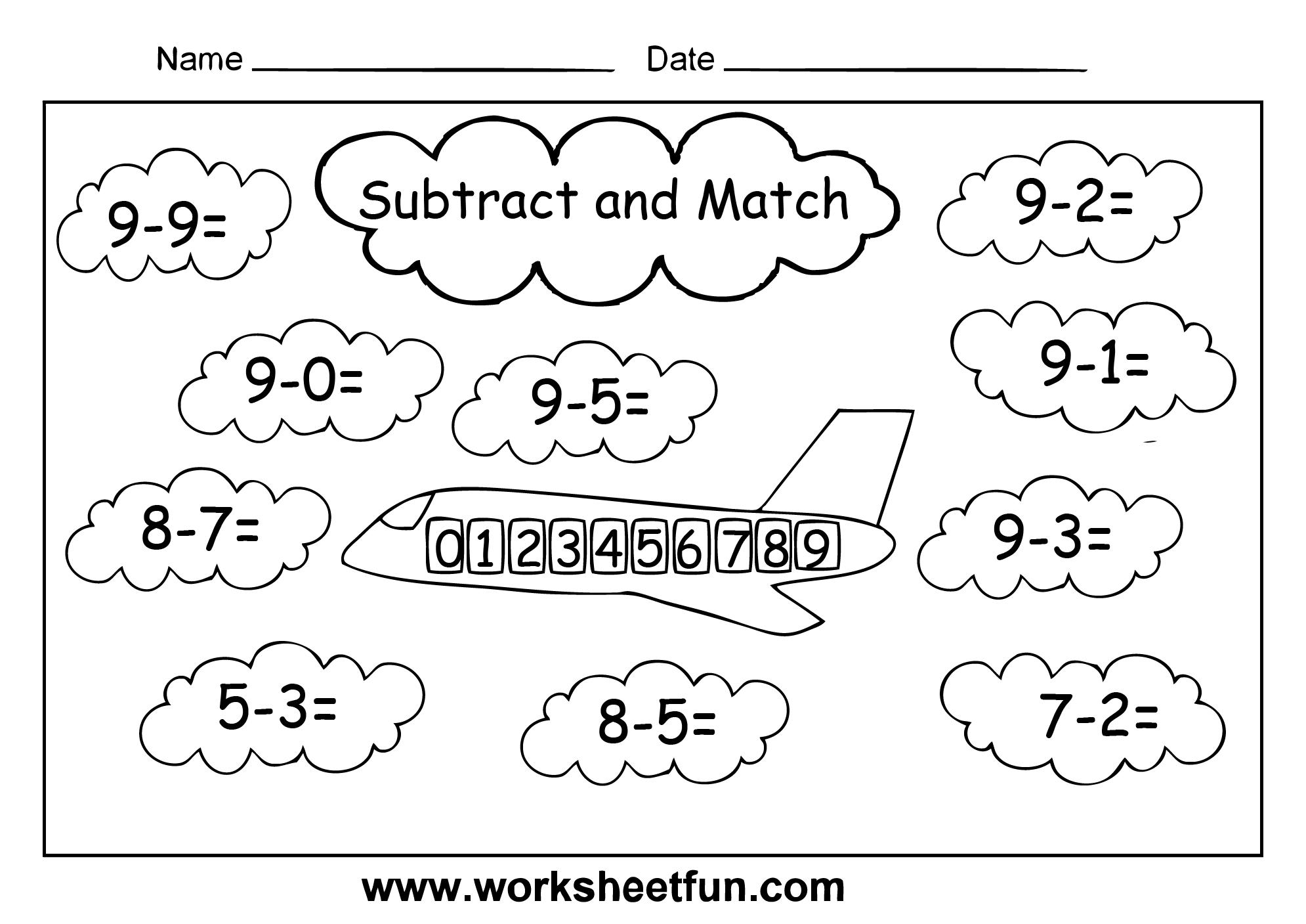 Subtraction – 4 Worksheets   1st grade math worksheets [ 1407 x 1990 Pixel ]