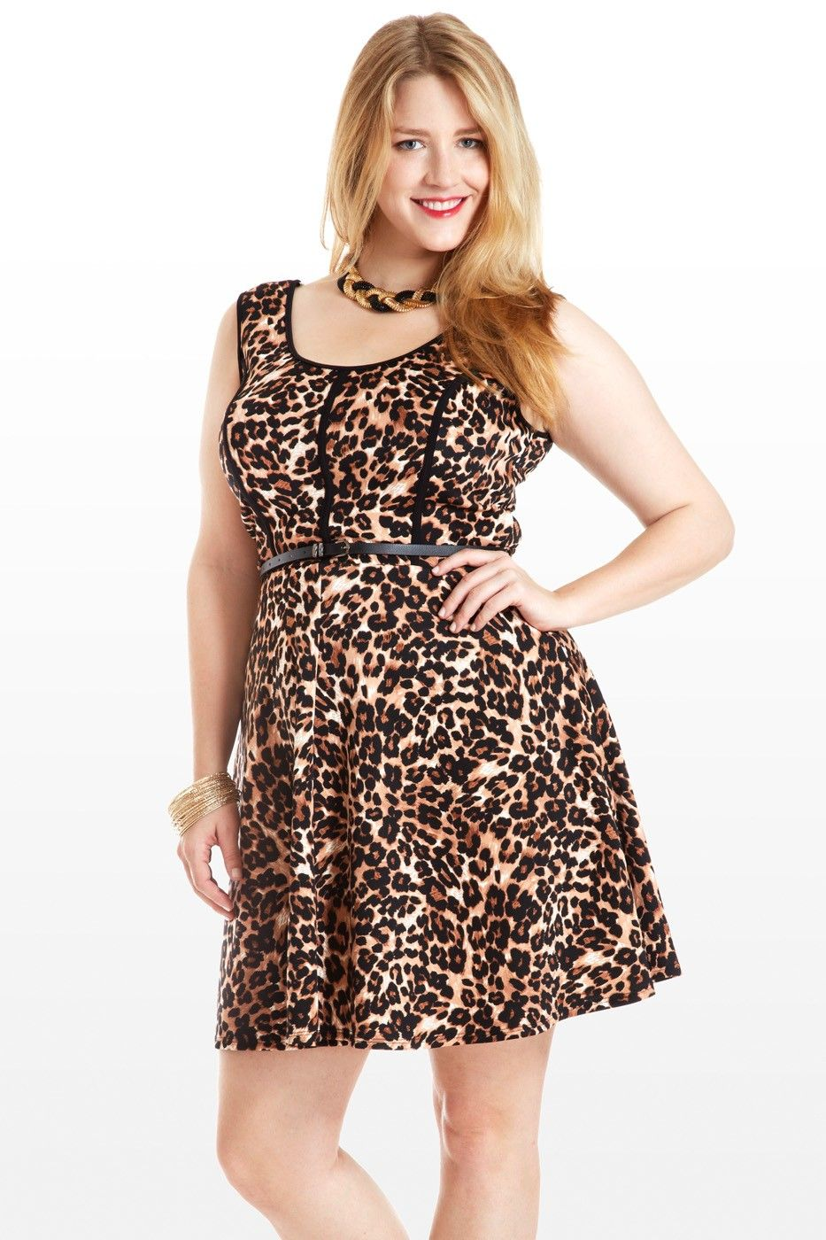eee7ae8d57 This feminine frock roars with an all-over animal print, cut into a ...