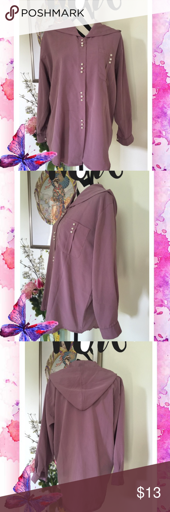 "Lavender Pearl Button Hoodie Style Shirt Big sale on bundles 2 items 30% off  3 items 40% off  5 items 50% off  Lavender Pearl Button Hoodie Style Shirt   100% polyester   Size L Shoulder: 38"" Bust: 44"" Sleeve: 20"" Length: 29""  Excellent condition Tops Button Down Shirts"