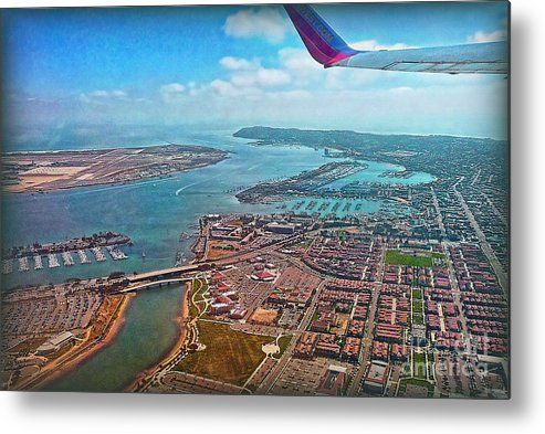 Departure Metal Print featuring the photograph San Diego Harbor View by Hanny Heim, Snowbird Photography #california #sandiego #airview
