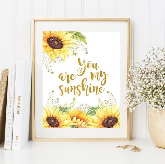 You are my sunshine print nursery printable wall art Nursery room ...