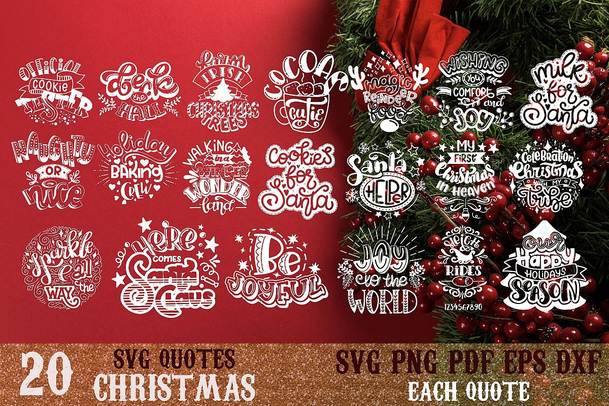 Christmas bundle svg Snowflakes svg Winter Santa quote vol