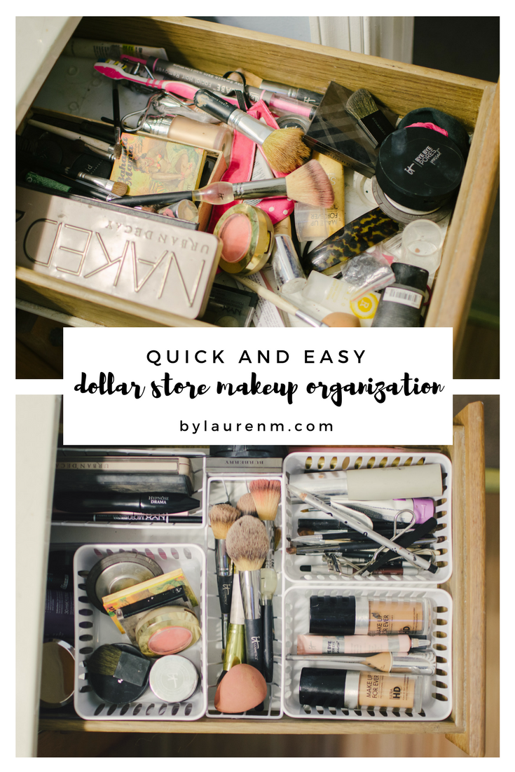 Dollar Store Makeup Drawer Organization DIY is part of Makeup Drawer Organization - Are you ready to take your makeup drawer from a mess to organized for under $5 ! Yep, it's possible with this easy Dollar Store Makeup Drawer Organization DIY!