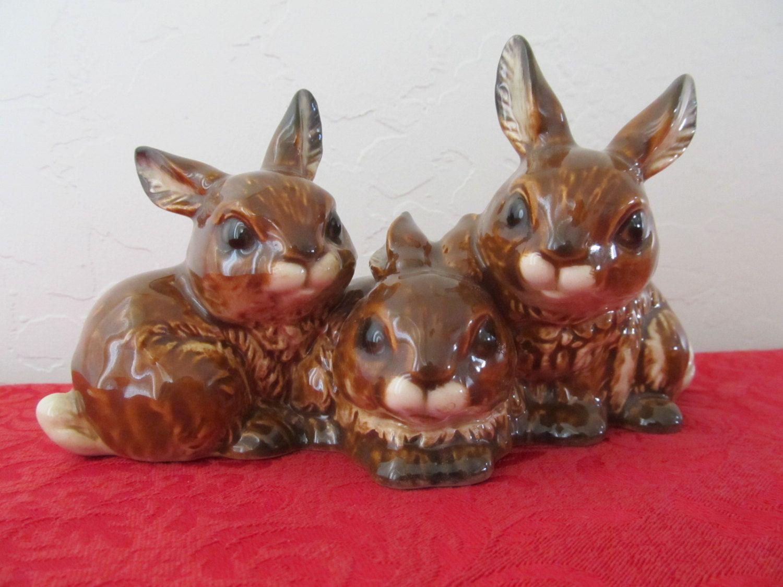 Goebel Three Brown Bunny Rabbits Figurine #34-813-08, Very ...