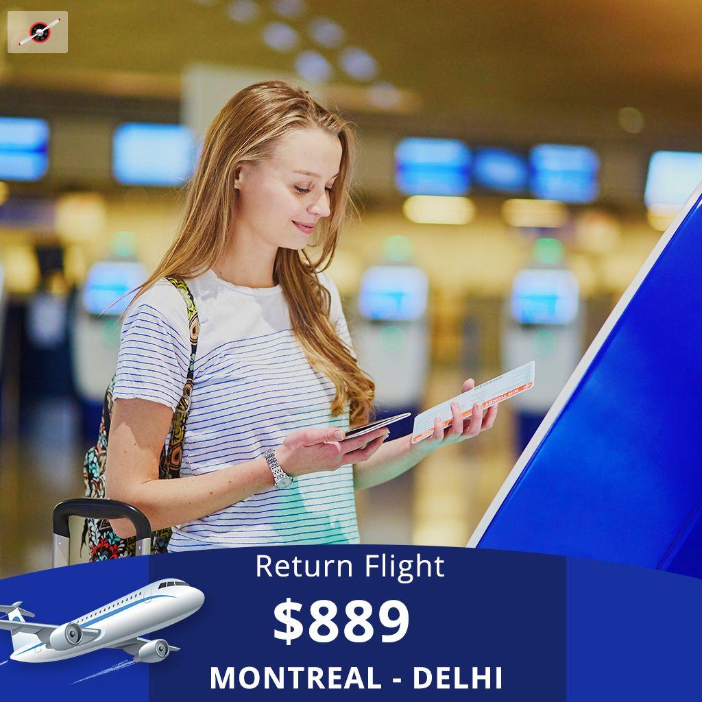 Book Return Flight Ticket MontrealDelhi fares are