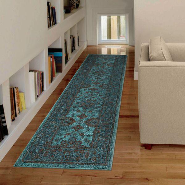 Carolina Weavers Bright Color Modern Traditional Hermitage Blue Runner Rug 2 3 X 8