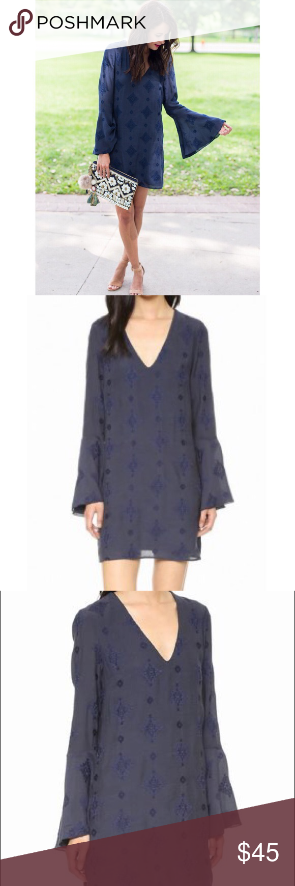Embroidered bell sleeve dress sleeved dress navy and customer support