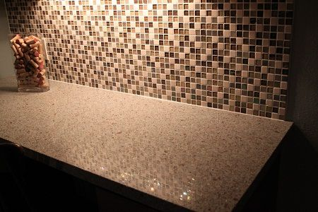 Recycled Glass U0026 Stone Mosaic Backsplash With Silestone Eco Riverbed Quartz  Countertop (made From Recycled
