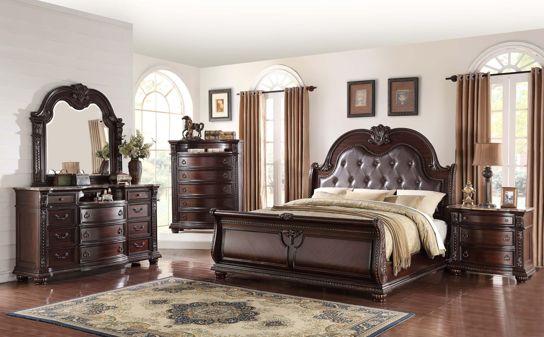 B1600 Stanley Marble Top Bedroom Set By Crown Mark Bedroom Sets