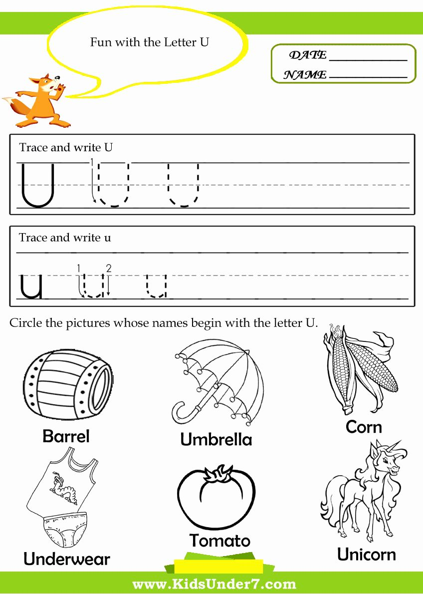 Preschool Letter U Tracing Worksheets in 2020 Preschool