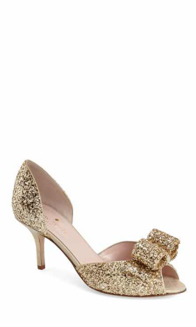 651a7d511e21 Glittery gold bow pumps  Yes