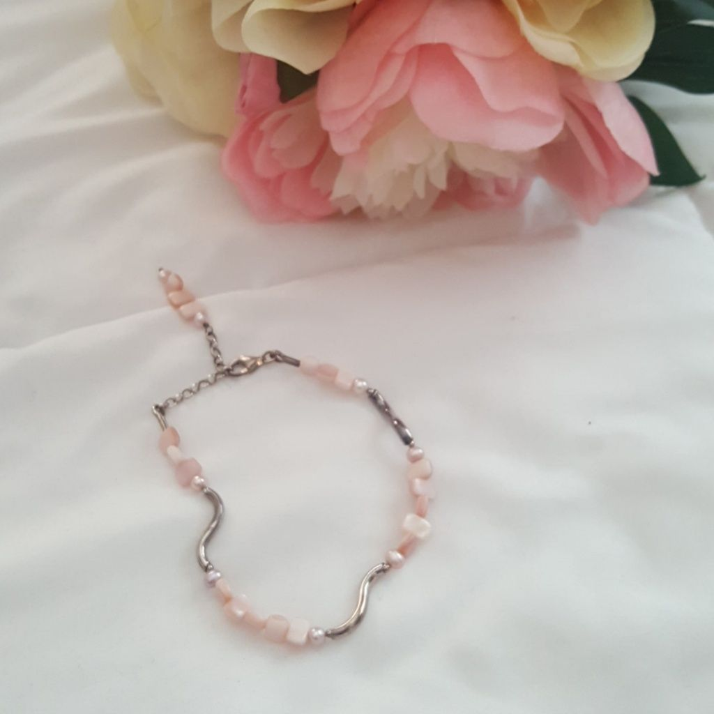 Sterling Silver And Shell Bracelet
