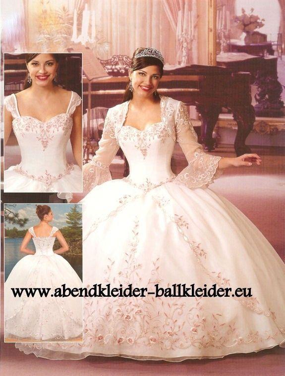 Luxus Abend - Ballkleid Brautkleid in Weiss mit Bolero | Dresses ...