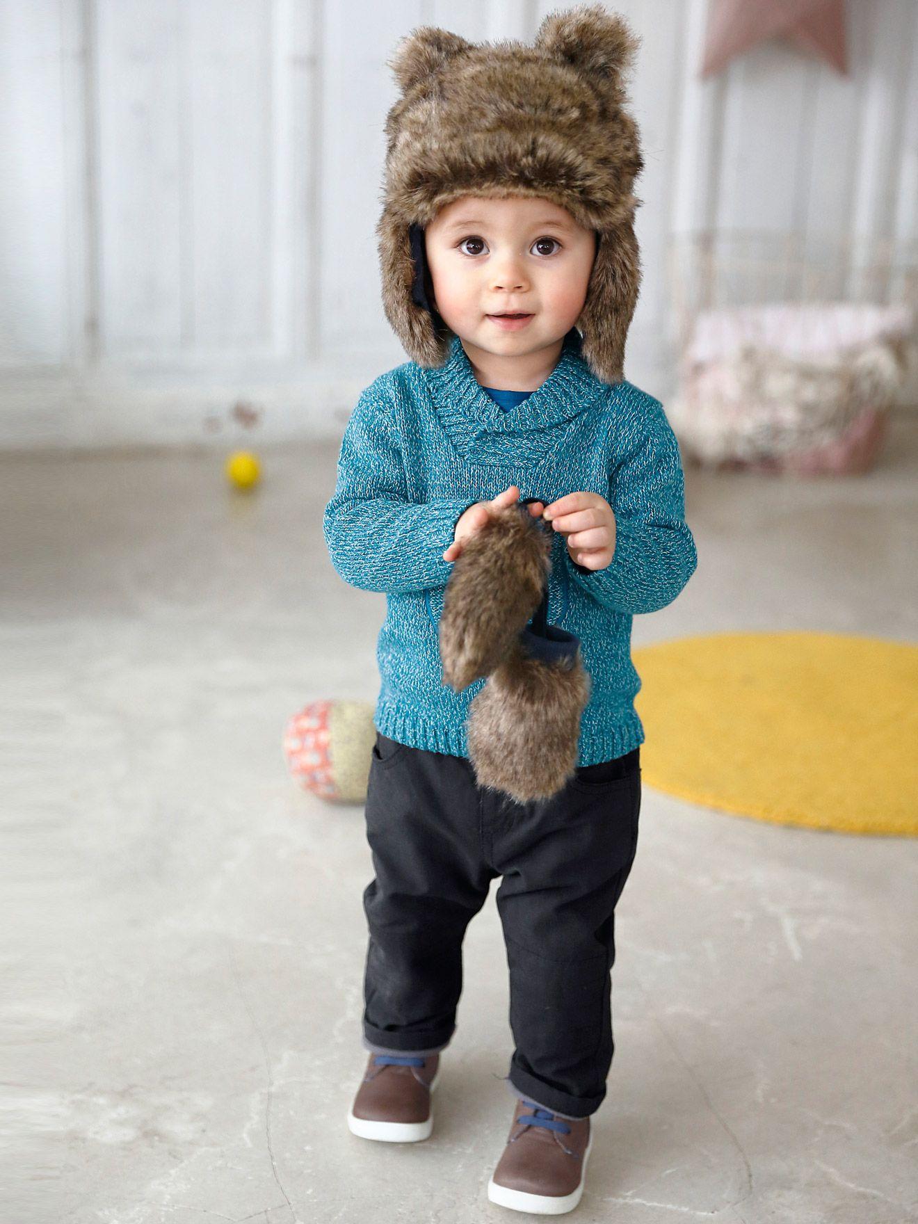 Chapka + moufles bébé garçon fausse fourrure doublée beige - Des petites  moufles et une adorable chapka avec des petites oreilles d ourson   l  ensemble en ... 528ceb89204