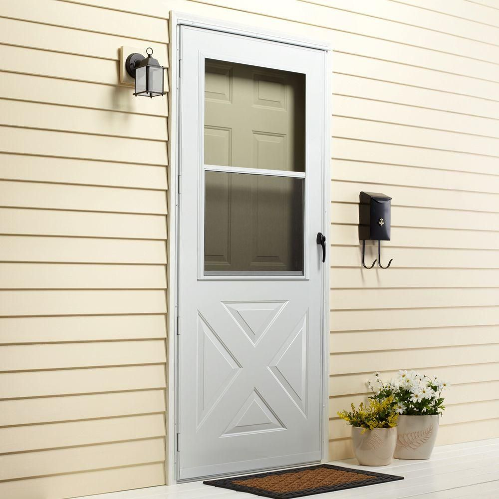 Emco 32 In X 80 In 200 Series White Universal Crossbuck Aluminum Storm Door E2xb 32wh The Home Depot Aluminum Storm Doors Storm Door Best Storm Doors